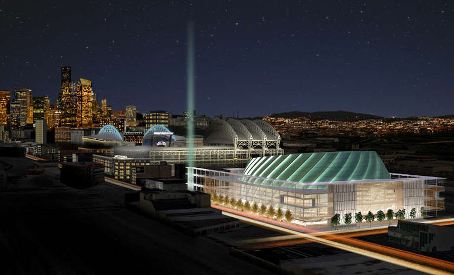 We've shown you plenty of design renderings for the outside of Seattle's proposed basketball and hockey arena. But now we've got new renderings of the inside of the venue -- specifically, the seating bowl. These nine images were released Wednesday on SonicsArena.com; click through the gallery to view them all.In this rendering of the outside of the arena, you can get a good idea of the shape of the main seating bowl. Arena seating would be located inside of the central ''turbine,'' pictured here with green lighting though depicted in all past renderings as bright orange.
