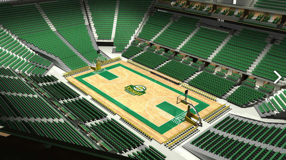 Here we get a rendering of the view from the Sonic Rings, looking down at the playing surface. ''We believe that pushing the entirety of the seating bowl closer to the court and having 2,000-4,000 fans literally overhanging the game not only creates the most intimate venue in the NBA,'' Hansen wrote, ''but will also provide you with the opportunity to create the loudest, most energetic atmosphere in yet another pro sport -- or better yet two!''