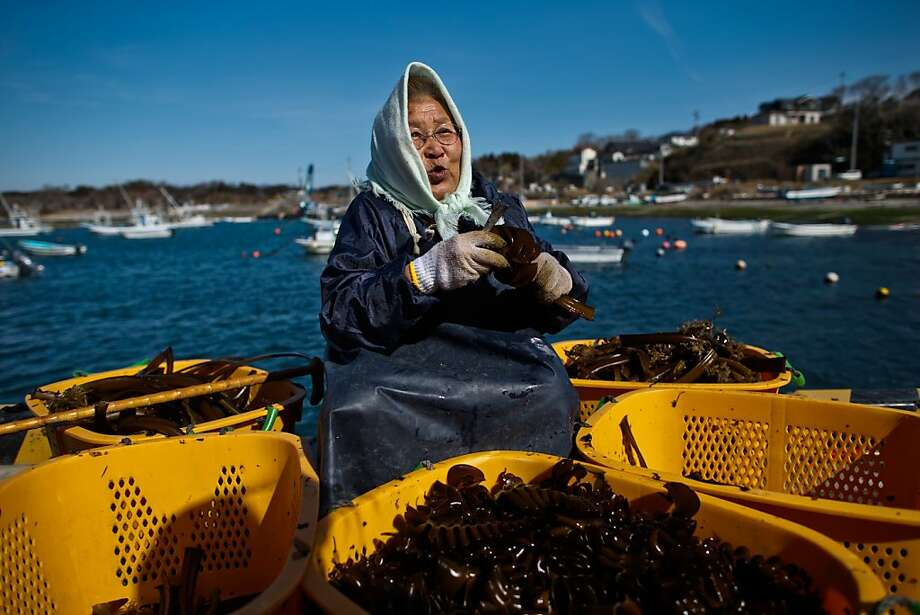 The old woman and the seaweed:Seventy-eight-year-old Reiko Takahashi, who lost her house and two fishing boats in the 2011 tsunami, prepares seaweed that she collects in the waters near Tomari port in Minamisanriku, Japan. Photo: Athit Perawongmetha, Getty Images
