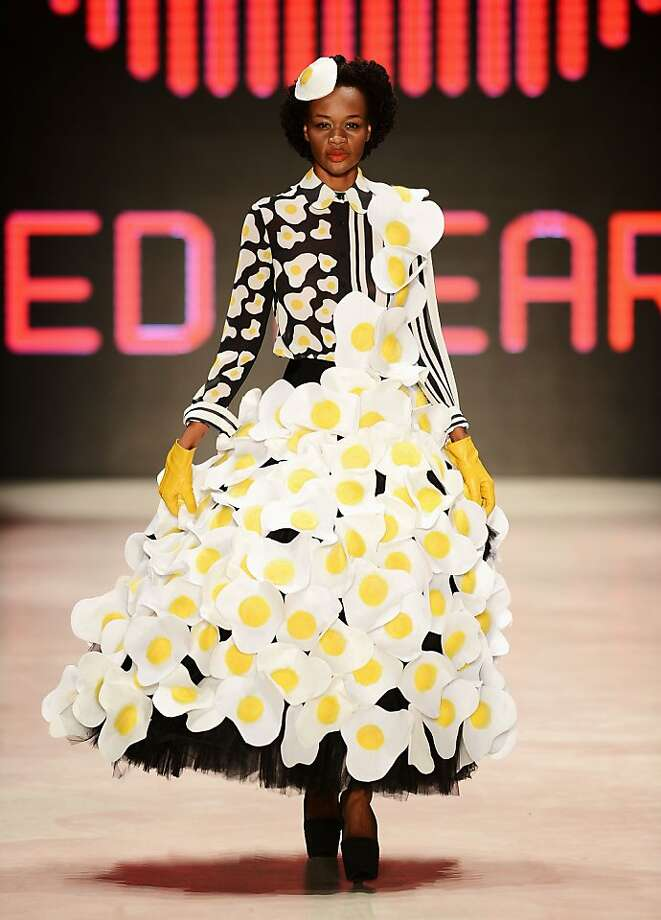 Sunny sides up:Fried-egg fashion sizzles on the runway at the Red Beard by Tanju Babacan show during Mercedes Benz Fashion Week in Istanbul. Photo: Ian Gavan, Getty Images