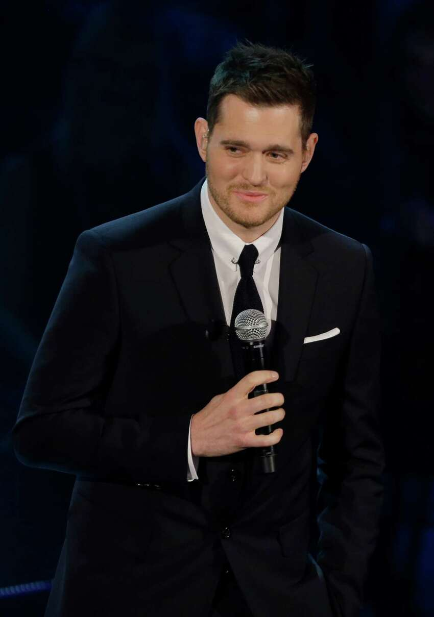 FILE - In this Nov. 26, 2012 file photo, Canadian singer Michael Buble' performs during the Italian State RAI TV program