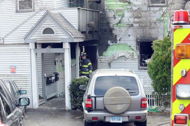 A home on Hamilton Avenue, burned overnight, Greenwich, Conn., Thursday, March 14, 2013. Photo: Helen Neafsey / Greenwich Time