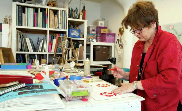 Lina Morielli works in her studio at the Loft Artists Association in Stamford, Conn., on Thursday, March 14, 2013. Photo: Lindsay Perry / Stamford Advocate