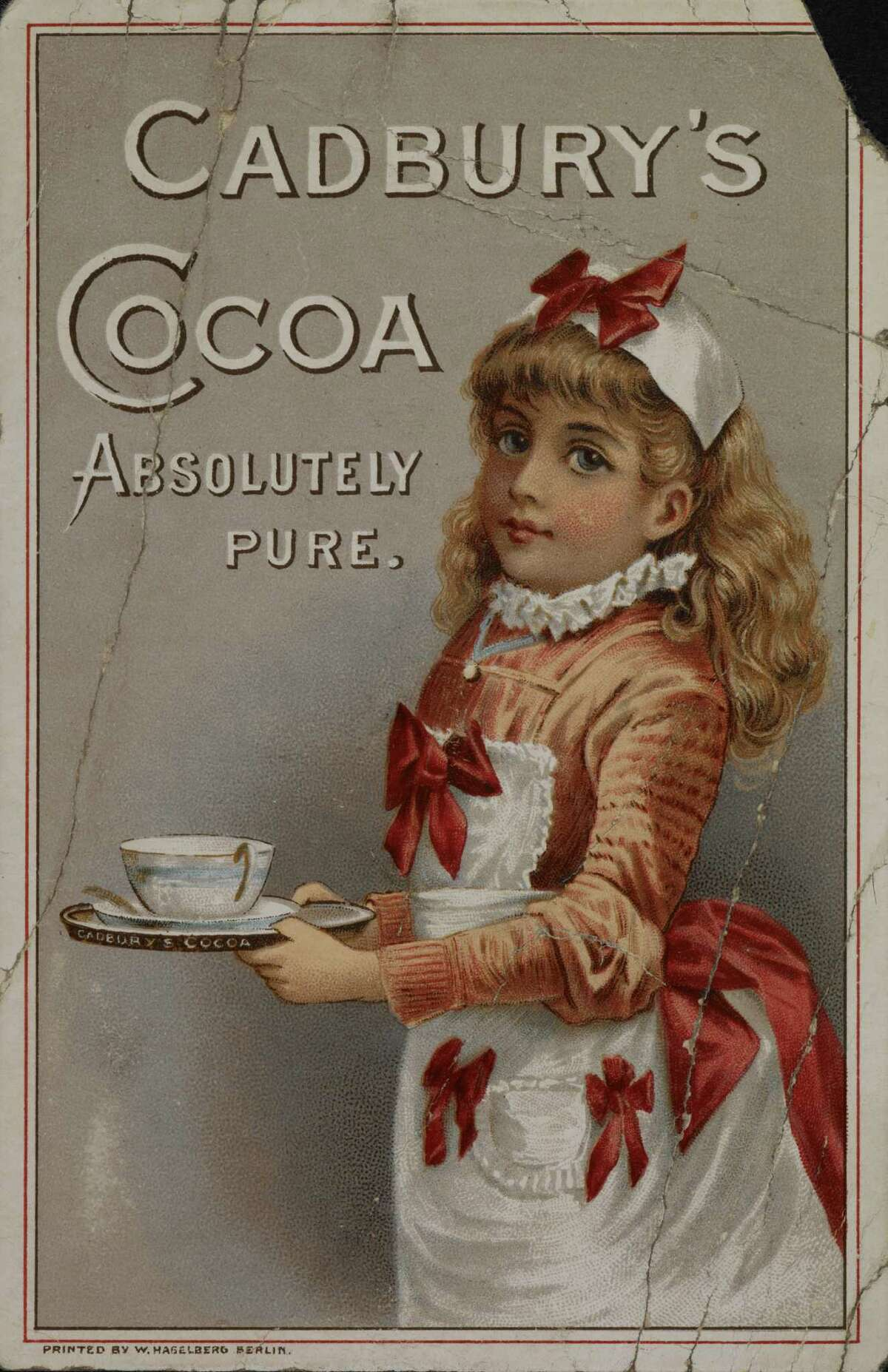 A Cadbury poster printed in 1885 with an illustration of a girl holding a cup of Cadbury 's cocoa.