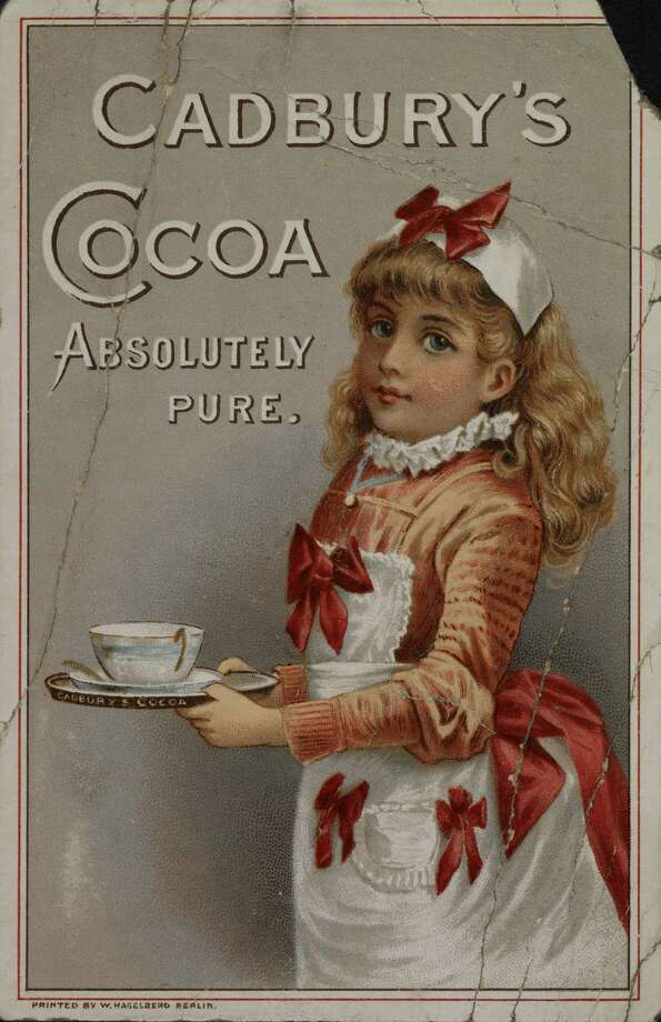 A Cadbury poster printed in 1885 with an illustration of a girl holding a cup of Cadbury 's cocoa. Photo: 11861, / / ©The British Library Board