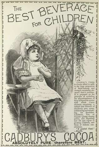 An advertisement showing a child drinking cup of Cadbury's cocoa. Published in 1890. Photo: British Library/Robana, / / ©The British Library Board