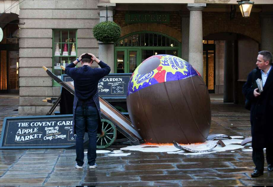 "Cadbury celebrates what they call ""creme egg season"" with an event in Covent Garden during the Goo Games, on Feb. 15, 2012 in London. Photo: Handout, / / 2012 Marcus Mays Productions"