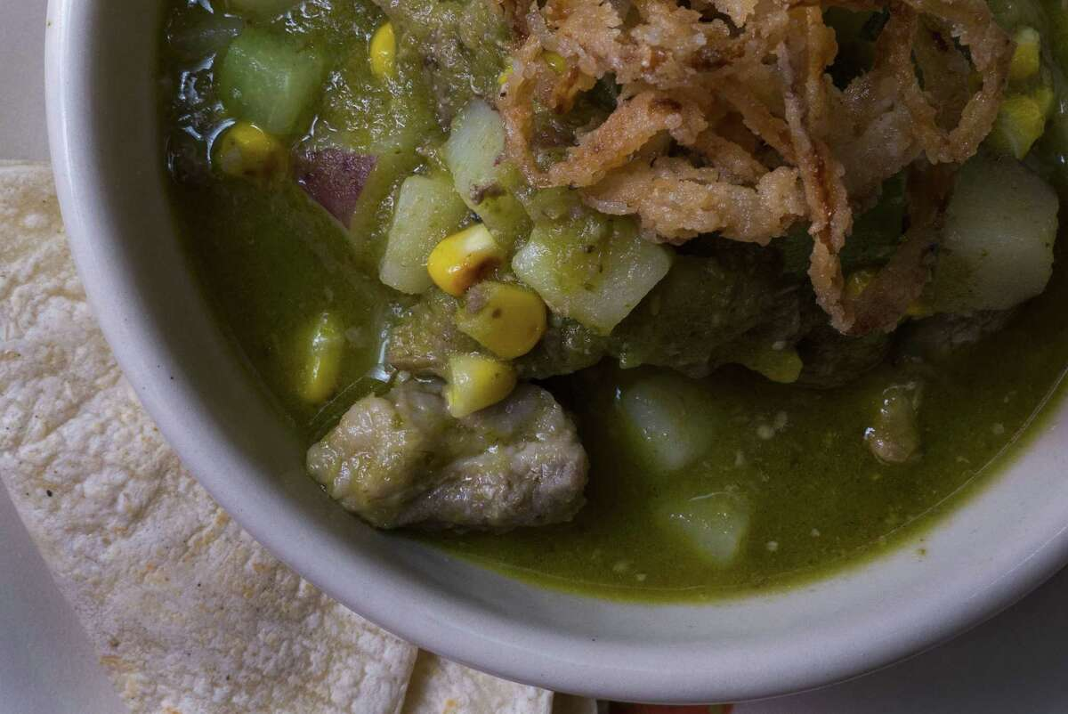 Pork-roasted tomatillo-chile cazuelita is on the dinner menu at The Frutería.