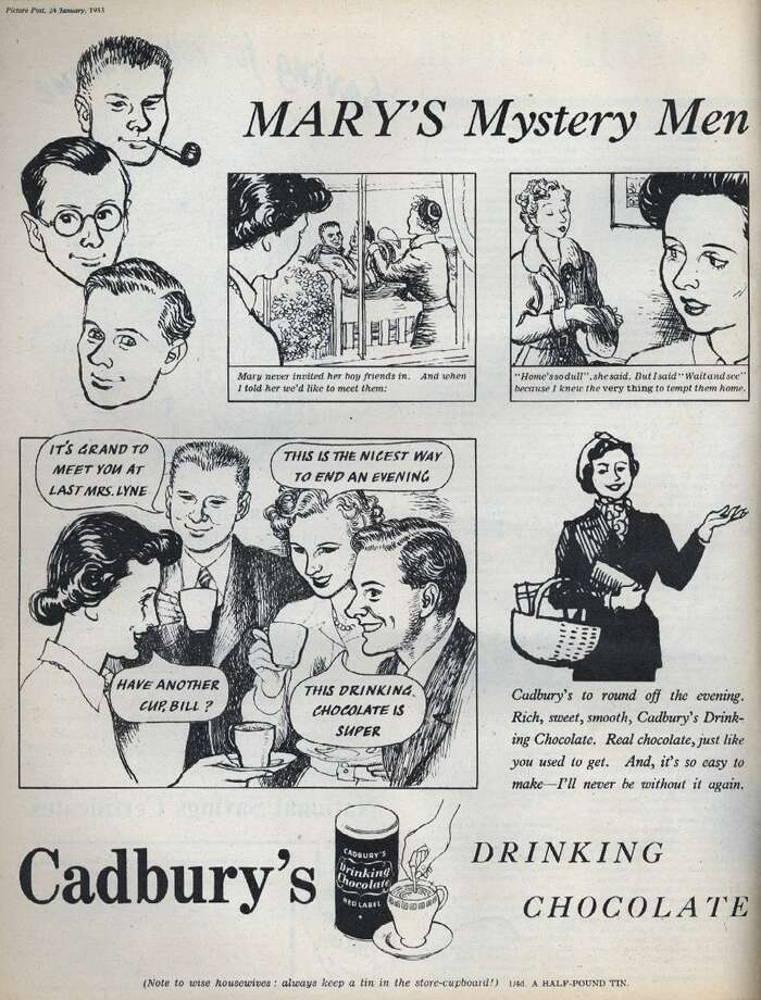 In this 1953 advertisement, a mother finally gets to meet her daughter's boyfriends by enticing them in with an offer of Cadbury's Drinking Chocolate. Photo: Picture Post, / / Hulton Archive