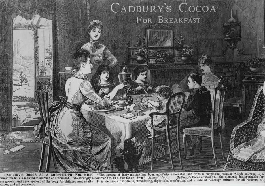 A family sitting around the breakfast table in an 1886 advertisement for Cadbury's cocoa. Photo: Hulton Archive, / / Hulton Archive