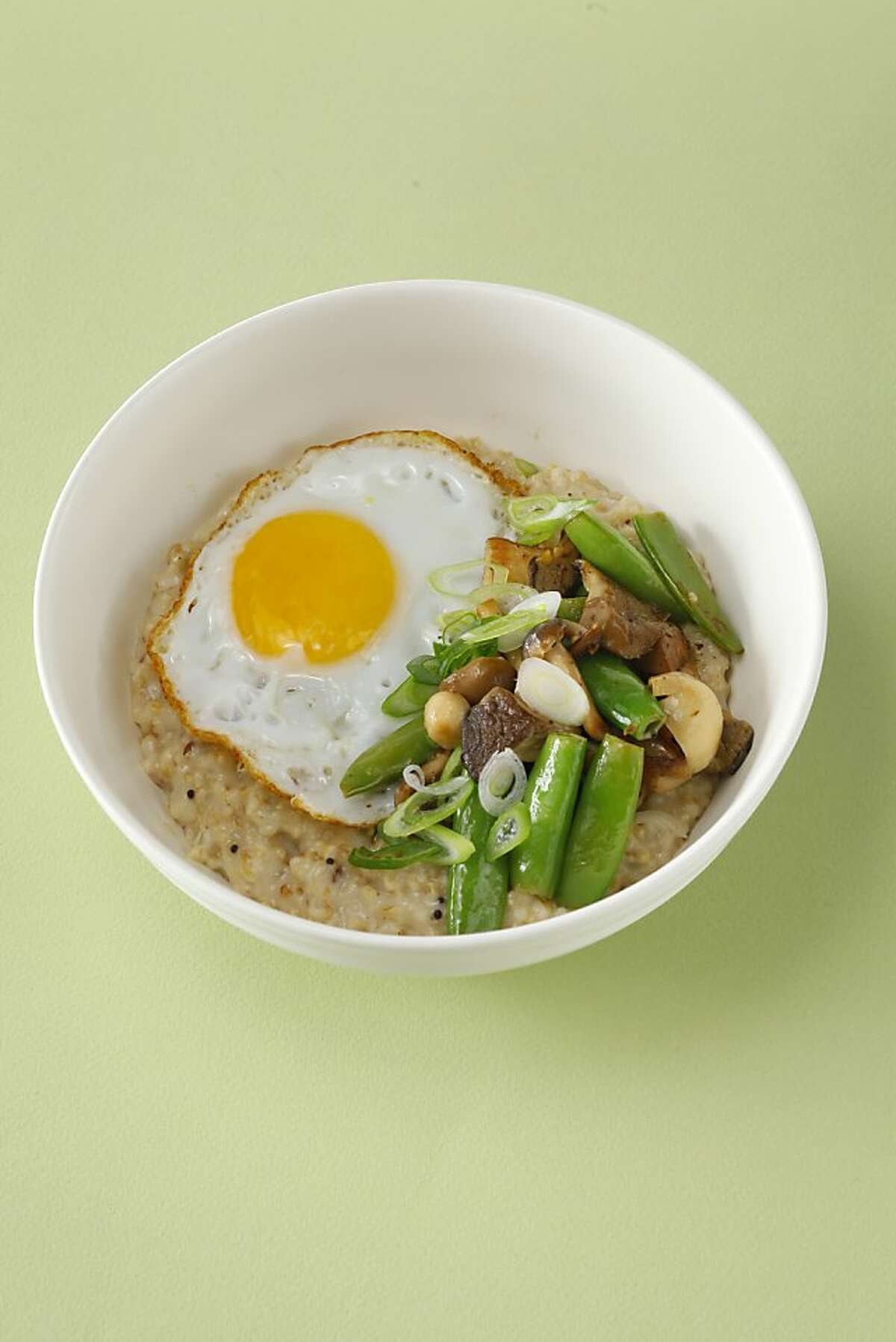 Farm:Table's steel-cut oats with mushrooms and snap peas The toppings for this savory oatmeal from Farm:Table change seasonally, but you might serve something like this with nettle sauce or herb salsa verde as well. You can also stir cheese into the finished oats - any favorite will be good in this dish. [recipe]