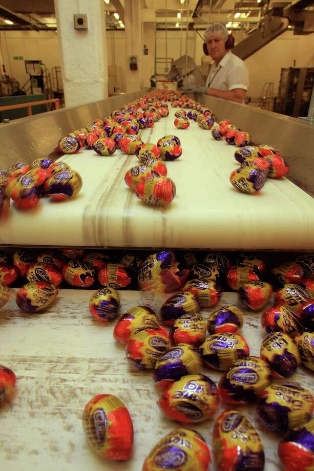 Cadbury's creme eggs move down the production line at the Cadbury's Bournville production plant on Dec. 15, 2009 in Birmingham, England. Photo: Christopher Furlong, / / 2009 Getty Images