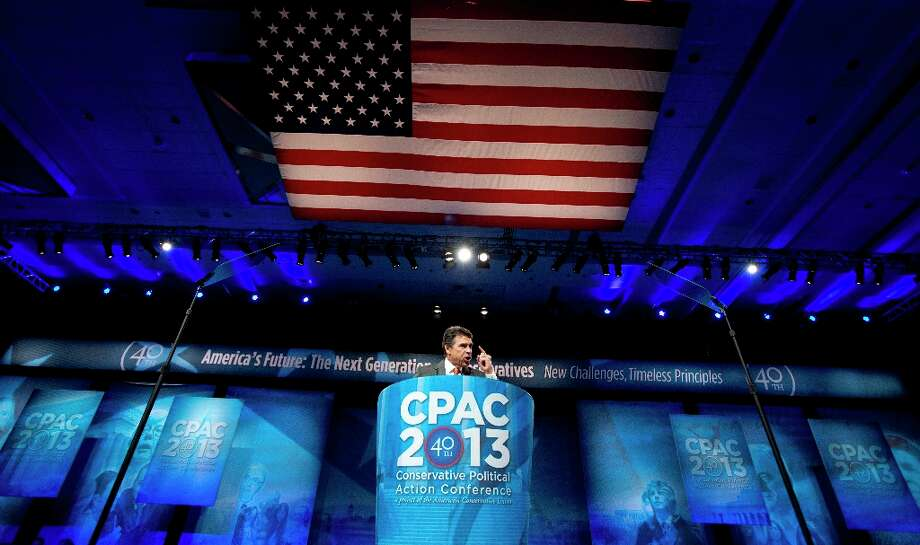 Texas Gov. Rick Perry, speaks at the 40th annual Conservative Political Action Conference in National Harbor, Md., Thursday, March 14, 2013.  (AP Photo/Manuel Balce Ceneta) Photo: Manuel Balce Ceneta, Associated Press / AP