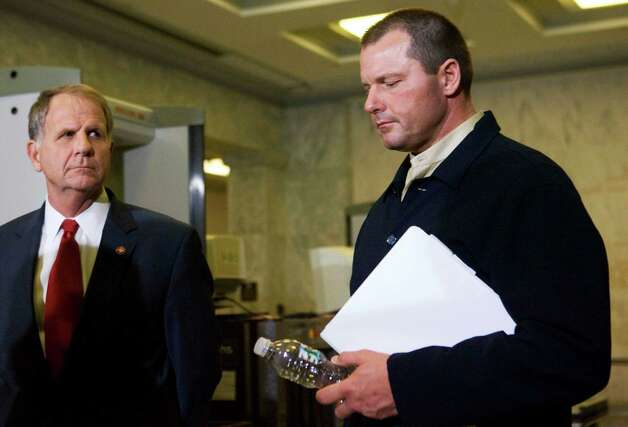 Baseball pitcher Roger Clemens, joins his lawyers and Rep. Ted Poe in a news conference on Feb. 7, 2008 in Washington, D.C. Photo: Manuel Balce Ceneta, AP / AP