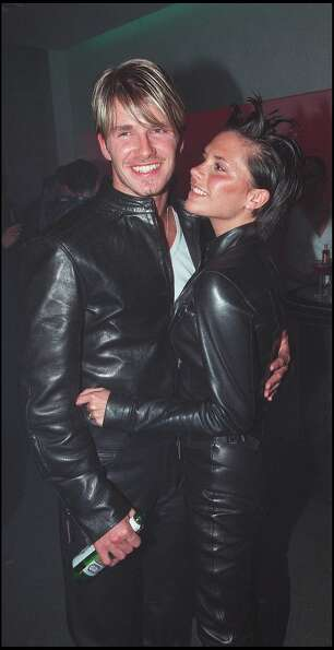 The Beckhams attend the Versace store party held at New Bond Street on June 11, 1999 in London.