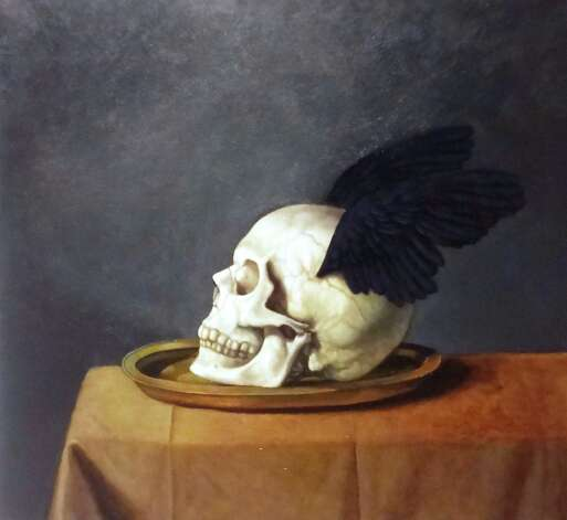 """Mercury Skull"" is a an oil based on a drawing that had been in Walsh's sketchbook for years. The artist often mixes aspects of different species in his art."