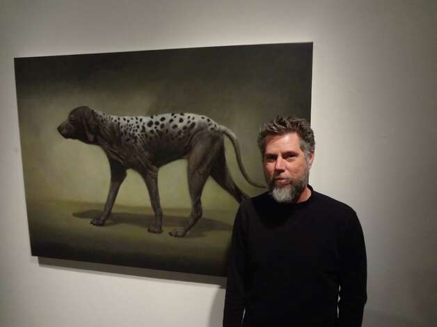 Lloyd Walsh is showing recent paintings, including one of a mangy dog that became a neighborhood project.