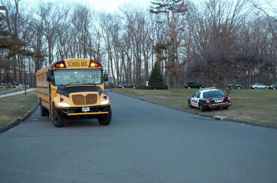 It was business as usual at Saxe Middle School this morning. A police car will be stationed outside the school all day. Photo by Jeanna Petersen Shepard, New Canaan, Conn., March 15, 2013 Photo: Freelance Photo