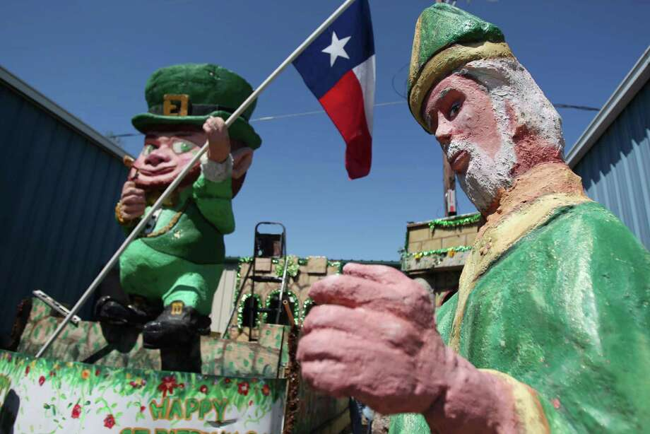The St. Patrick float is almost ready, and it will be behind the grand marshall during the 48th Annual St. Patrick's Day Parade through Downtown Houston on Thursday, March 14, 2013, in Houston. The parade is Saturday at Noon, and starts on Texas Ave. in front of Minute Maid Park. Photo: Mayra Beltran, Houston Chronicle / © 2013 Houston Chronicle