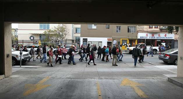 Students, and faculty from City College and Mission High School walked up 22nd Street in San Francisco protesting City College accreditation problems during a march to City Hall Thursday, March 14, 2013, in San Francisco Calif. Photo: Lance Iversen, The Chronicle