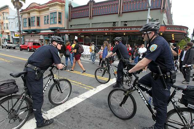 San Francisco Police essorted several hundred students, and faculty from City College and Mission High School as they walked up Valencia Street protesting City College accreditation problems during a march to City Hall Thursday, March 14, 2013, in San Francisco Calif. Photo: Lance Iversen, The Chronicle