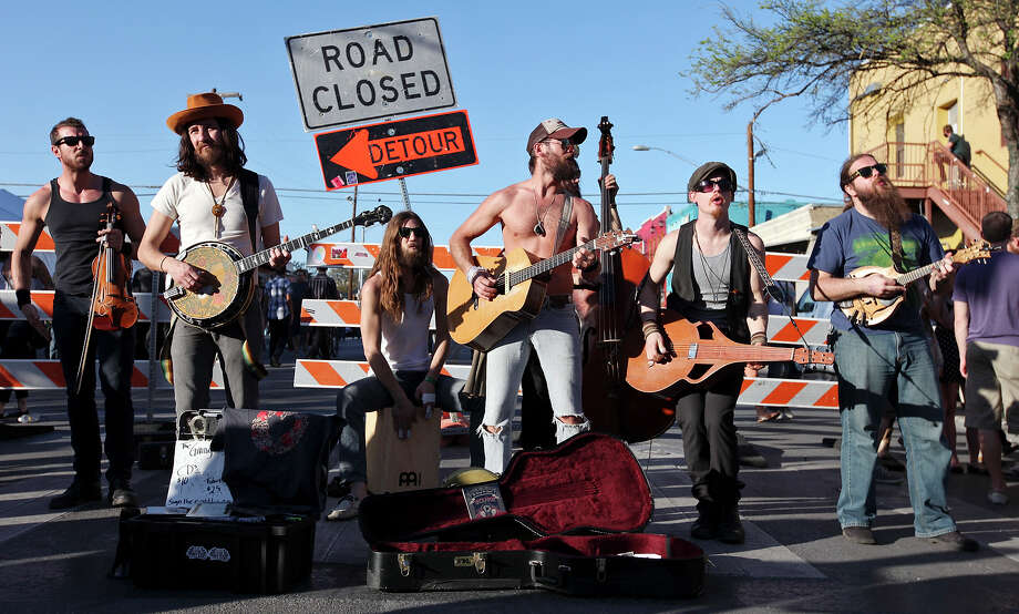 The Giving Tree Band, from Chicago, IL, performs on 6th Street during South by Southwest Thursday March 14, 2013 in Austin, TX. Photo: Edward A. Ornelas, San Antonio Express-News / © 2013 San Antonio Express-News