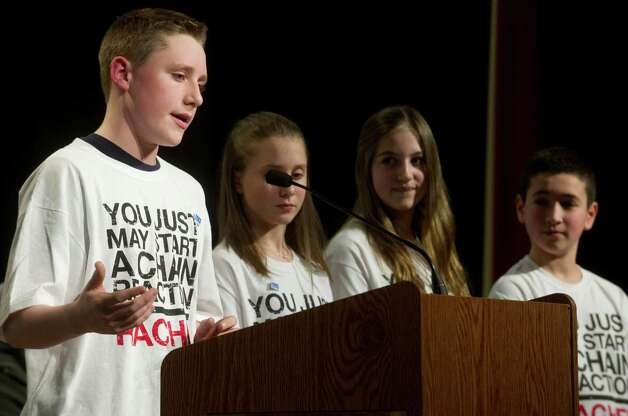 A student representative from Rachel's Challenge speak during an anti-bullying event at Westover Elementary School on Thursday, March 14, 2013. Photo: Lindsay Perry / Stamford Advocate