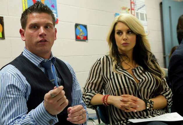 "WWE Announcer Josh mathews and ""Diva"" Kaitlyn speak about their anti-bullying message before speaking at Westover Elementary School on Thursday, March 14, 2013. Photo: Lindsay Perry / Stamford Advocate"