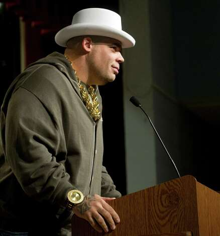 Brodus Clay of the WWE speaks during an anti-bullying event at Westover Elementary School on Thursday, March 14, 2013. Photo: Lindsay Perry / Stamford Advocate