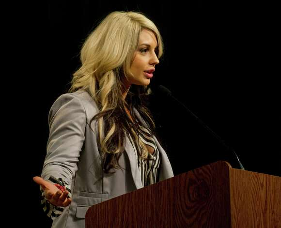 "WWE ""Diva"" Kaitlyn speaks during an anti-bullying event at Westover Elementary School on Thursday, March 14, 2013. Photo: Lindsay Perry / Stamford Advocate"