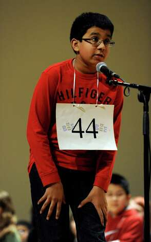 Shrenik Kankaria of Stamford, Conn., spells a word in an early round of the Hearst Media Services Spelling Bee is held at Western Connecticut State University in Danbury, Conn. Thursday, March 14, 2013. Photo: Carol Kaliff / The News-Times