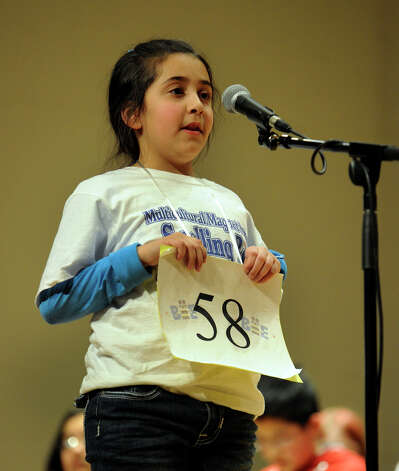 Natalie Makhael, of Bridgeport, Conn. spells a word in the  Hearst Media Services Spelling Bee is held at Western Connecticut State University in Danbury, Conn. Thursday, March 14, 2013. Photo: Carol Kaliff / The News-Times