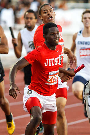 Judson senior Jerome Gatewood, last year's E-N Boys Area Track Athlete of the Year, has helped the Rockets to the fastest time locally in the 1,600-meter relay this year. Photo: Marvin Pfeiffer / San Antonio Express-News