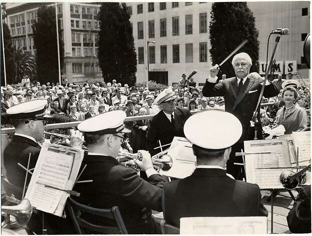In 1958, Arthur Fiedler conducted the Municipal Band in Union Square before the opening of the Mid-Summer Pops festival. Photo: Courtesy Of The San Francisco Hi, San Francisco Public Library