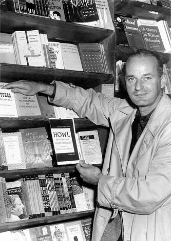 In 1957, poet Lawrence Ferlinghetti proprietor of City Lights Books, posed with a copy of ÒHowl,Ó an epic poem written by Allen Ginsberg. Ferlinghetti faced obscenity charges for publishing the book, which San Francisco police had confiscated for its sexual references. The case was decided in FerlinghettiÕs favor. Photo: Courtesy Of The San Francisco Hi, San Francisco Public Library