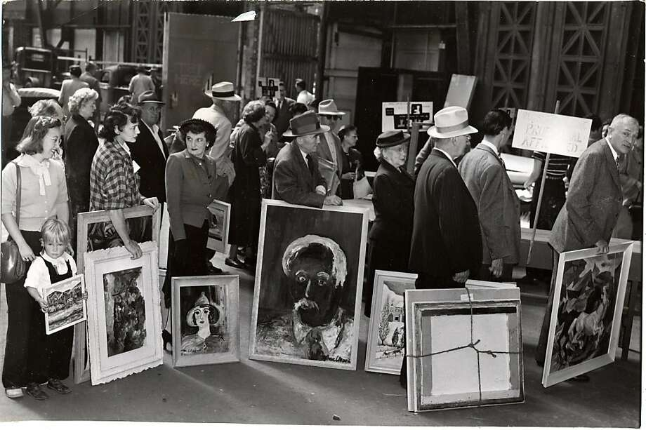 Eager to share their work, artists line up at the Palace of Fine Arts in 1951 to enter a festival. A new book explores San Francisco Arts Commission history. Photo: Courtesy Of The San Francisco Hi, San Francisco Public Library