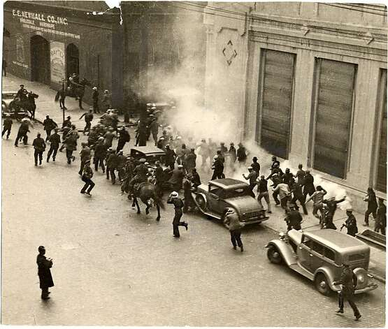 """Bloody Thursday"" riots in 1934 coincided with Communist symbols appearing on new Coit Tower murals. Photo: Courtesy Of The San Francisco Hi, San Francisco Public Library"