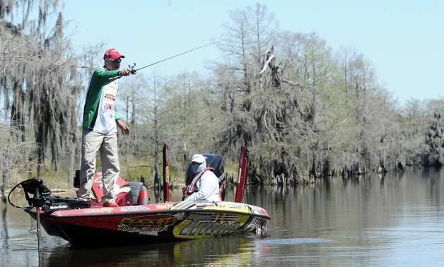 Angler Boyd Duckett fishes a cut during the 2013 Bassmaster Elite Series Sabine River Challenge on Thursday, March 14, 2013. Photo taken: Randy Edwards/The Enterprise Photo: Randy Edwards