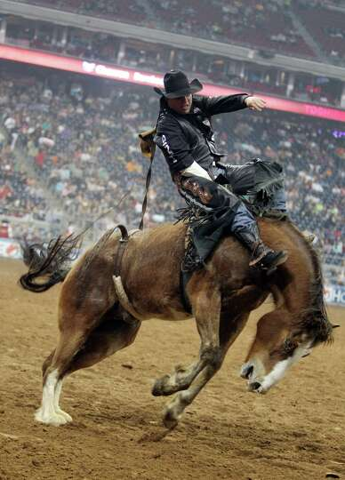 Jessy Davis competes in Bareback Riding during the BP Super Series Semifinals 2 at Reliant Stadium o