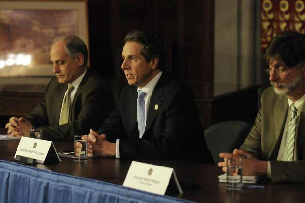 Gov. Andrew Cuomo holds a media availability at the Capitol on Thursday March 14, 2013 in Albany, N.Y. (Michael P. Farrell/Times Union) Photo: Michael P. Farrell