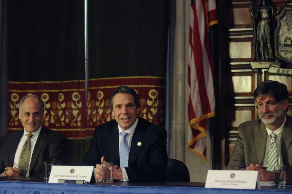 Gov. Andrew Cuomo holds a media availability at the Capitol on Thursday March 14, 2013 in Albany, N.Y. (Michael P. Farrell/Times Union)