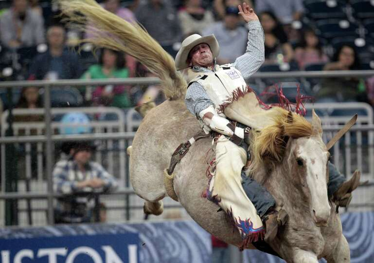 Chris Harris competes in Bareback Riding during the BP Super Series Semifinals 2 at Reliant Stadium