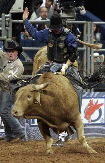 Luke Haught competes in Bull Riding BP Super Series Semifinals 2 at Reliant Stadium on Thursday, Mar