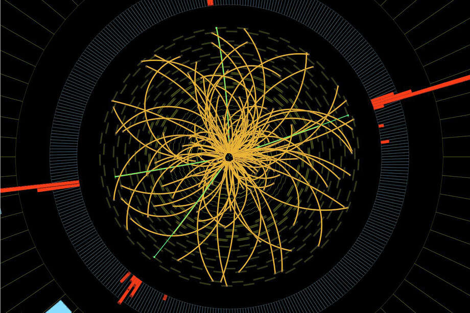 "FILE - This 2011 image provided by CERN, shows a real CMS proton-proton collision in which four high energy electrons (green lines and red towers) are observed in a 2011 event. The event shows characteristics expected from the decay of a Higgs boson but is also consistent with background Standard Model physics processes. Physicists say they are now confident they have discovered a long-sought subatomic particle known as a Higgs boson.  The European Organization for Nuclear Research, called CERN, says Thursday March 14, 2013  a look at all the data from 2012 shows that what they found last year was a version of what is popularly referred to as the ""God particle.""   (AP Photo/CERN) Photo: Uncredited"