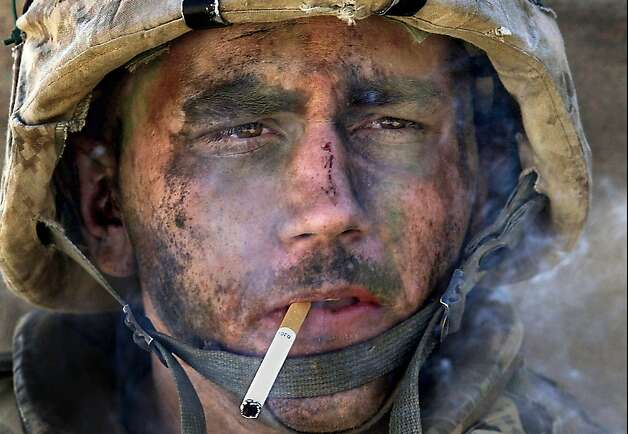 Lance Cpl. James Blake Miller came to be known as The Marlboro Marine when this photo was taken of him November 9, 2004, as his unit, Charlie Company of the 1st Battalion, 8th Marine Regiment, entered Fallouja, an insurgent stronghold in Iraq's Sunni Triangle. (Luis Sinco/Los Angeles Times/MCT) Photo: Luis Sinco, McClatchy-Tribune News Service