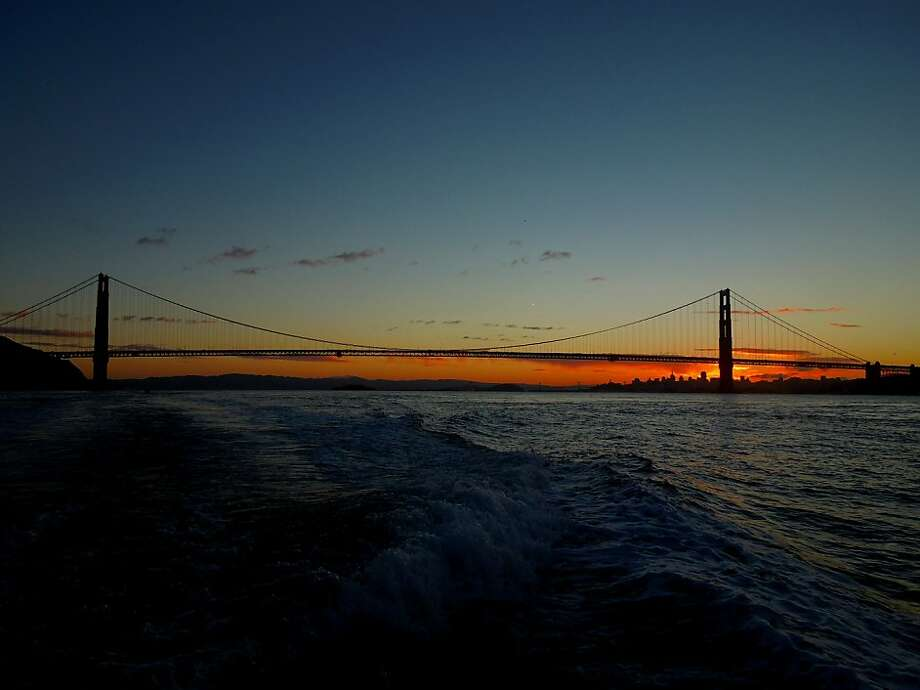 Anglers aboard the Wacky Jacky saw this sunrise from the Golden Gate last fall. This spring is looking good for salmon fishing. Photo: Brian Murphy, Courtesy Photo