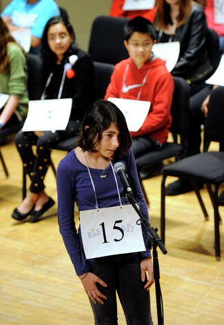 Julia Feldman of Westport, Conn., competes in the Hearst Media Services Spelling Bee is held at Western Connecticut State University in Danbury, Conn. Thursday, March 14, 2013. Photo: Carol Kaliff / The News-Times