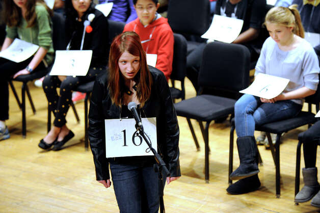 Isabelle Scheer of Ridgefield, competes in the Hearst Media Services Spelling Bee is held at Western Connecticut State University in Danbury, Conn. Thursday, March 14, 2013. Photo: Carol Kaliff / The News-Times