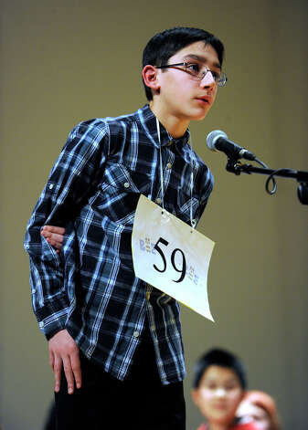 Jonathan Conte of Somers, Conn., competes in the Hearst Media Services Spelling Bee is held at Western Connecticut State University in Danbury, Conn. Thursday, March 14, 2013. Photo: Carol Kaliff / The News-Times