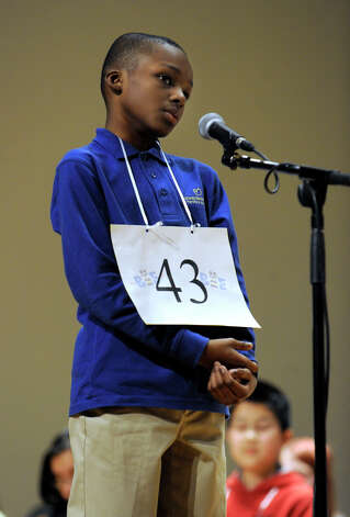 Jason Parks of Hartford, Conn. competes in the Hearst Media Services Spelling Bee is held at Western Connecticut State University in Danbury, Conn. Thursday, March 14, 2013. Photo: Carol Kaliff / The News-Times